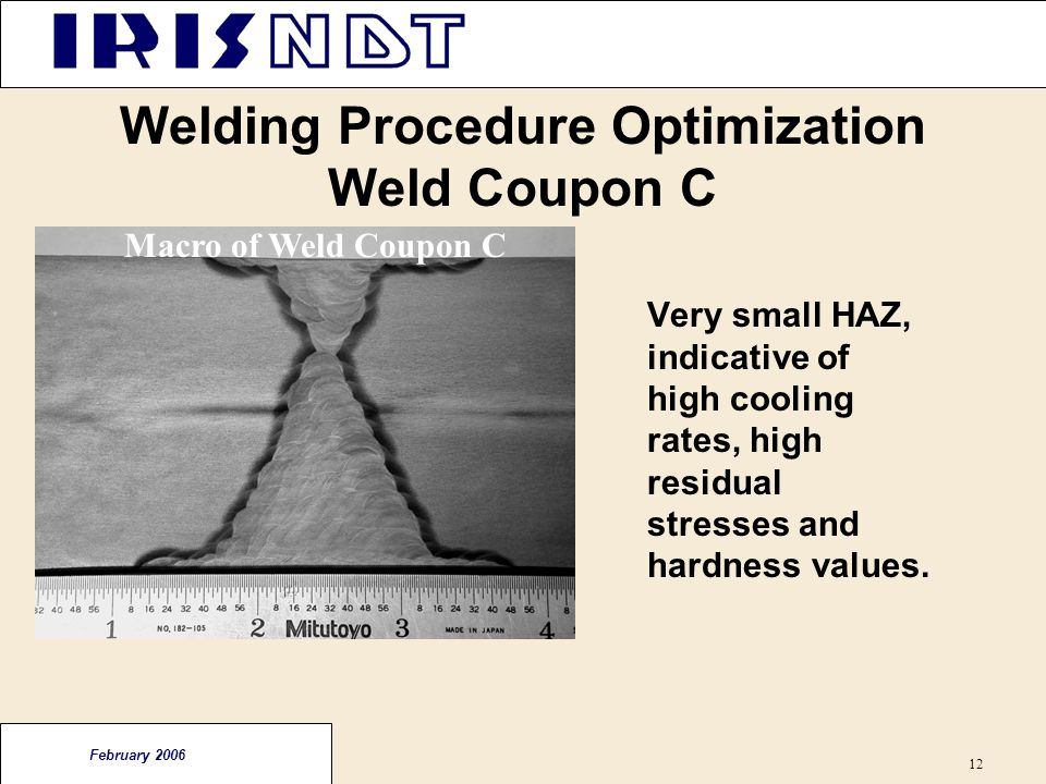 Welding Procedure Optimization Weld Coupon C