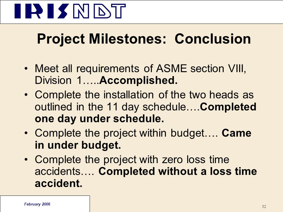 Project Milestones: Conclusion