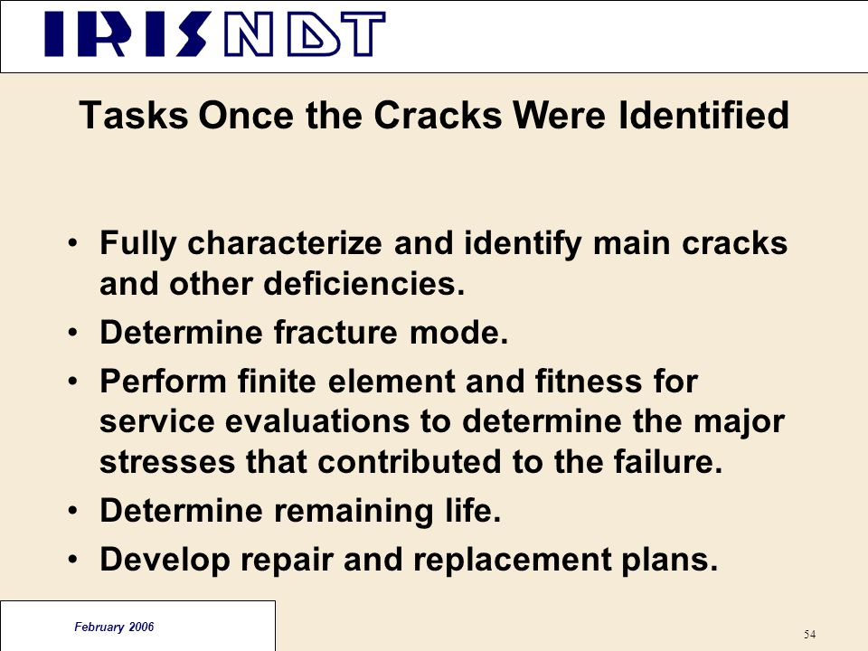 Tasks Once the Cracks Were Identified