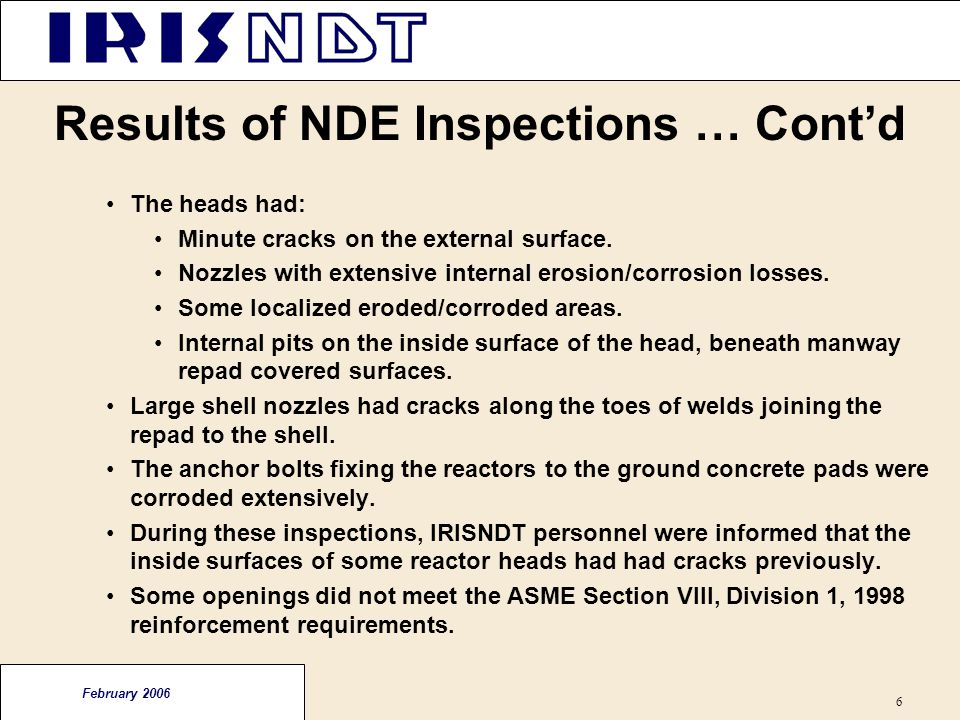 Results of NDE Inspections … Cont'd