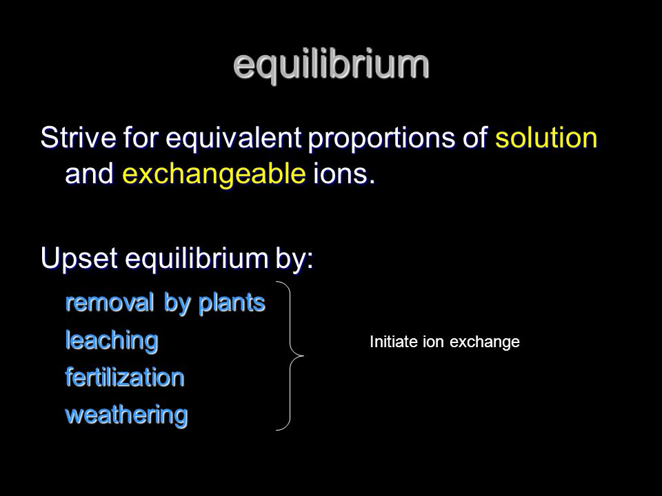 equilibrium Strive for equivalent proportions of solution and exchangeable ions. Upset equilibrium by: