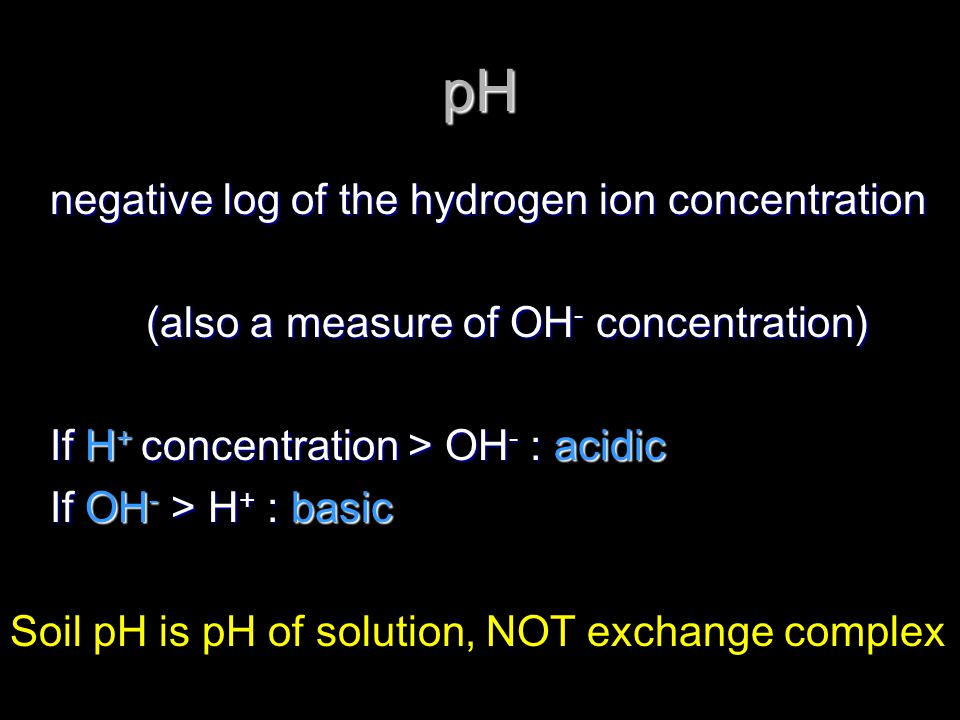 pH negative log of the hydrogen ion concentration