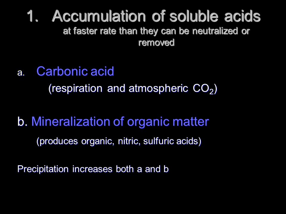 Accumulation of soluble acids at faster rate than they can be neutralized or removed