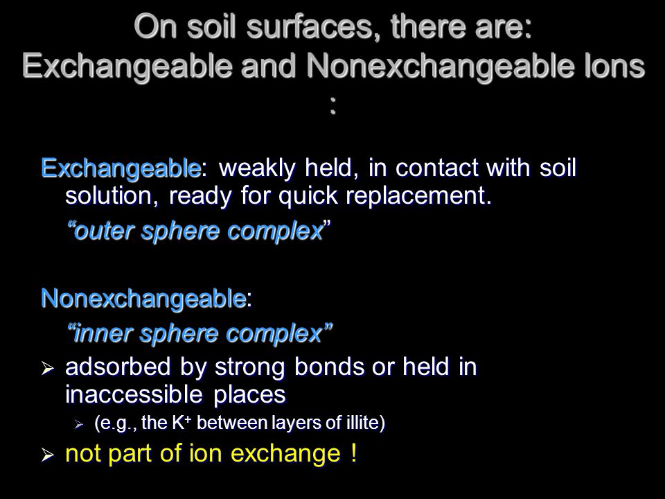 On soil surfaces, there are: Exchangeable and Nonexchangeable Ions :