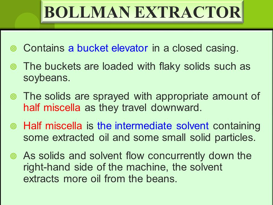 BOLLMAN EXTRACTOR Contains a bucket elevator in a closed casing.