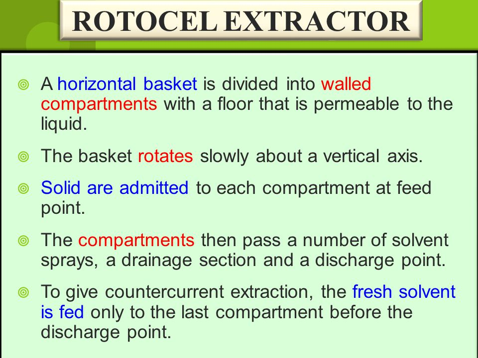 ROTOCEL EXTRACTOR A horizontal basket is divided into walled compartments with a floor that is permeable to the liquid.