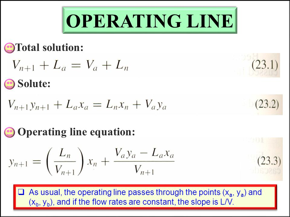 OPERATING LINE Total solution: Solute: Operating line equation: