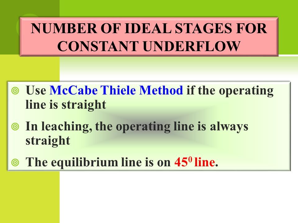NUMBER OF IDEAL STAGES FOR CONSTANT UNDERFLOW