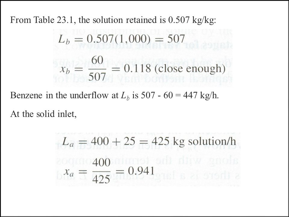 From Table 23.1, the solution retained is 0.507 kg/kg: