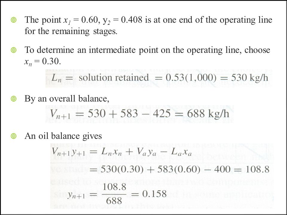 The point x1 = 0.60, y2 = 0.408 is at one end of the operating line for the remaining stages.