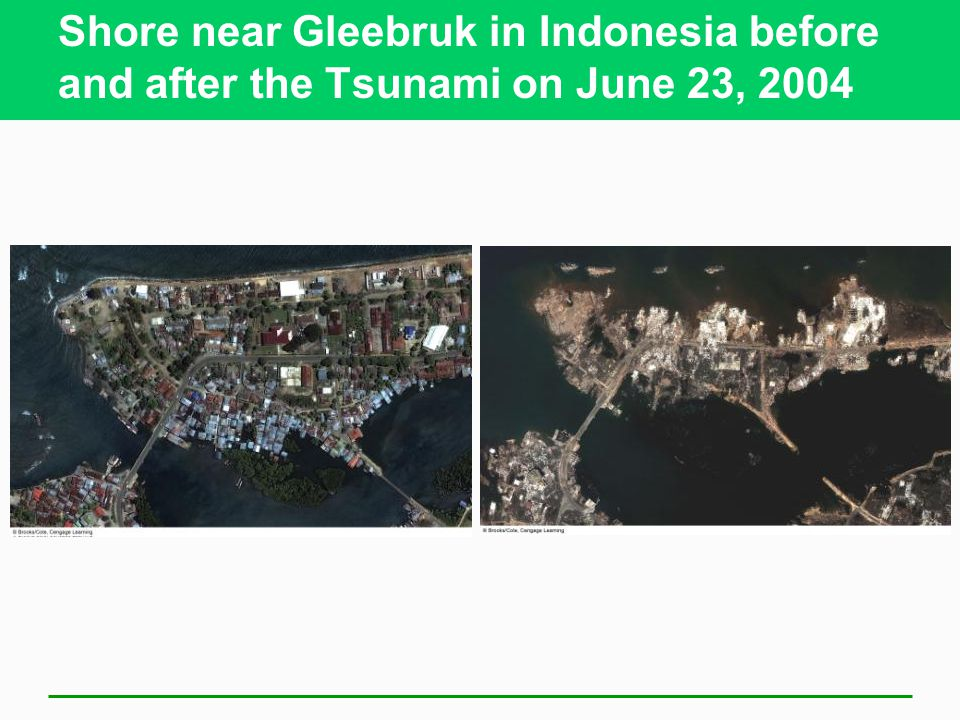Shore near Gleebruk in Indonesia before and after the Tsunami on June 23, 2004
