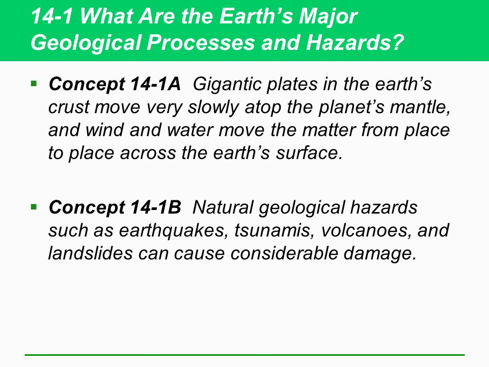 14-1 What Are the Earth's Major Geological Processes and Hazards