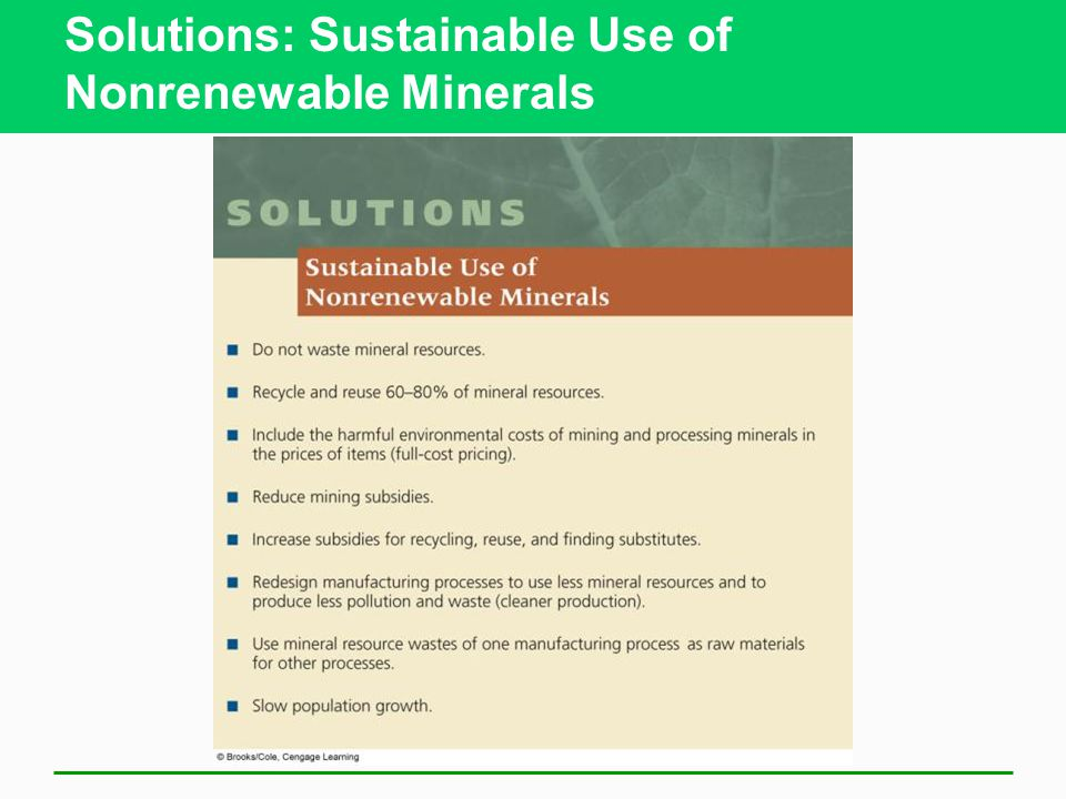 Solutions: Sustainable Use of Nonrenewable Minerals