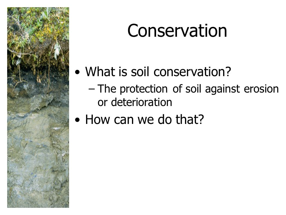 Conservation What is soil conservation How can we do that