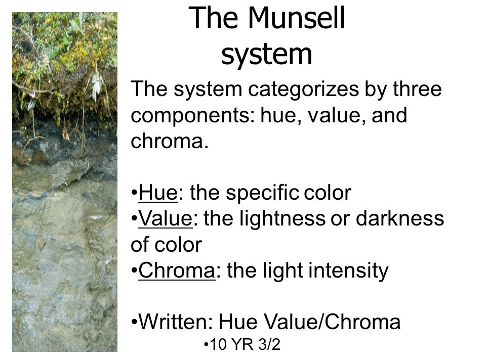 The Munsell system The system categorizes by three components: hue, value, and chroma. Hue: the specific color.