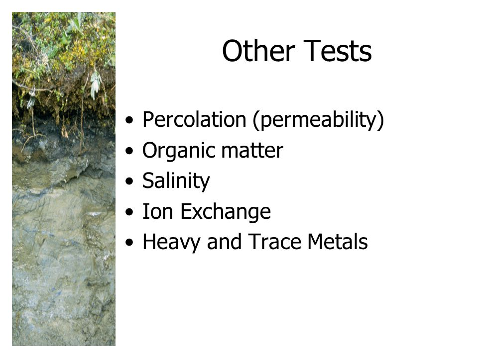 Other Tests Percolation (permeability) Organic matter Salinity