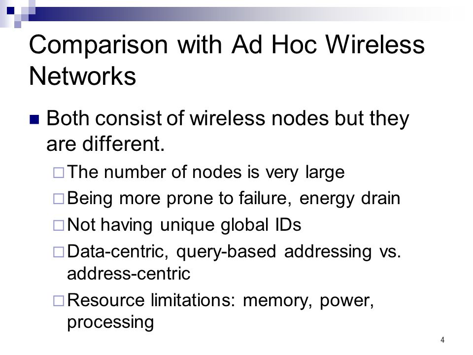 Comparison with Ad Hoc Wireless Networks