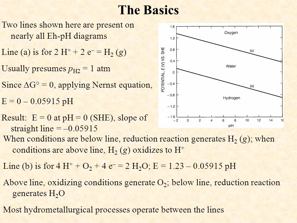 The Basics Two lines shown here are present on nearly all Eh-pH diagrams. Line (a) is for 2 H+ + 2 e– = H2 (g)
