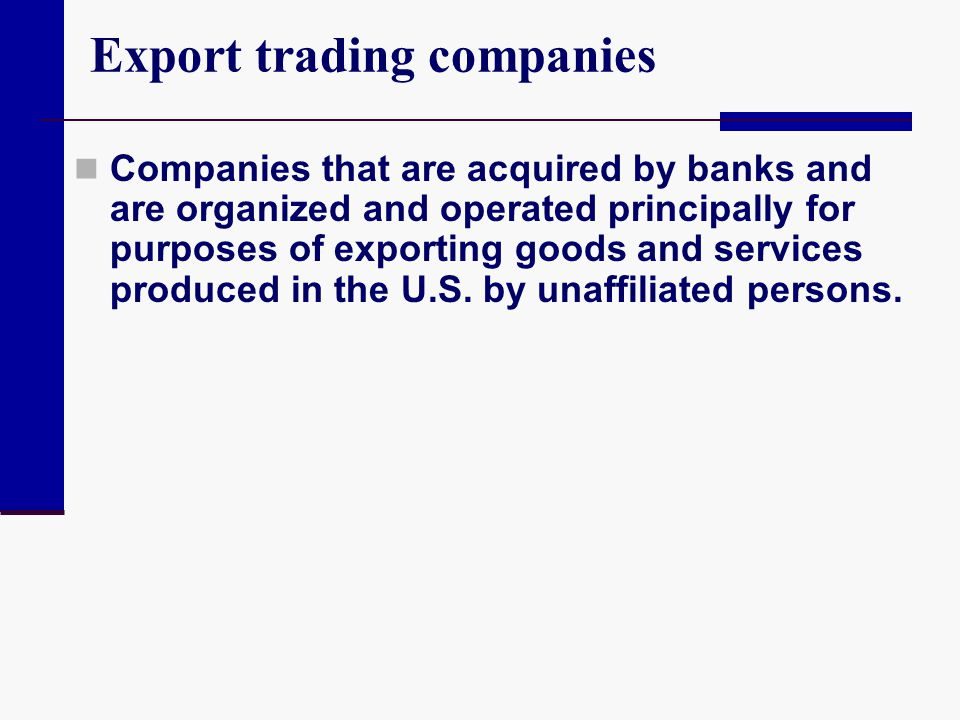 Export trading companies