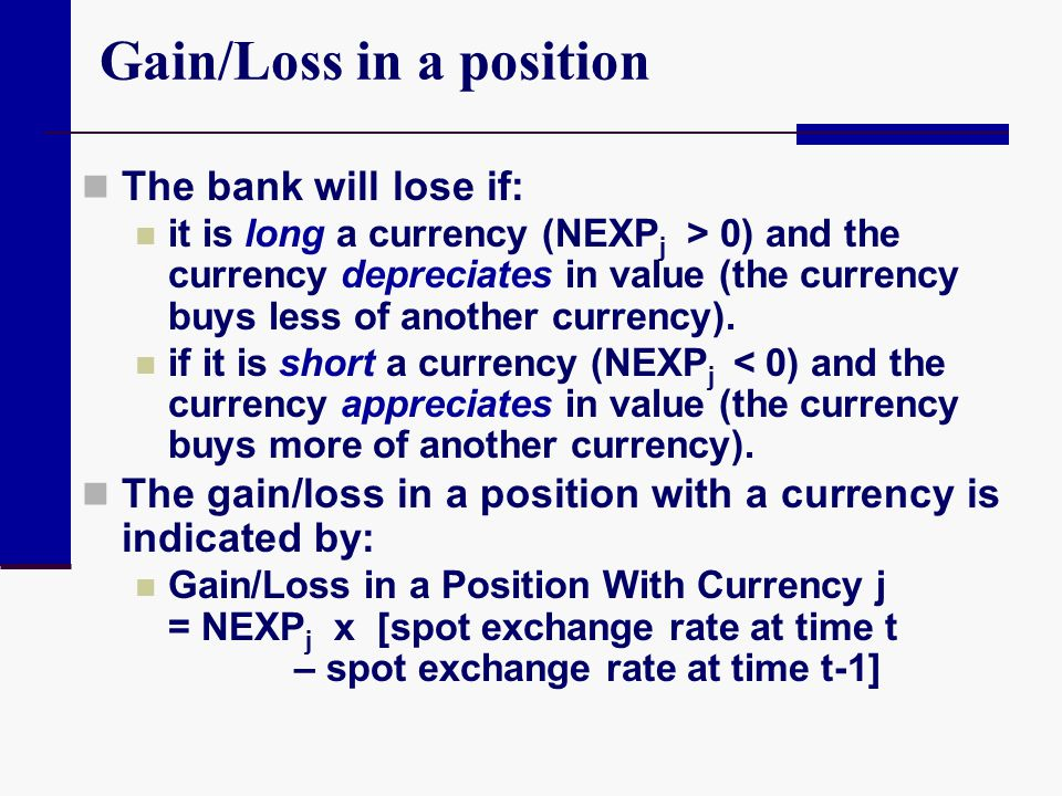 Gain/Loss in a position
