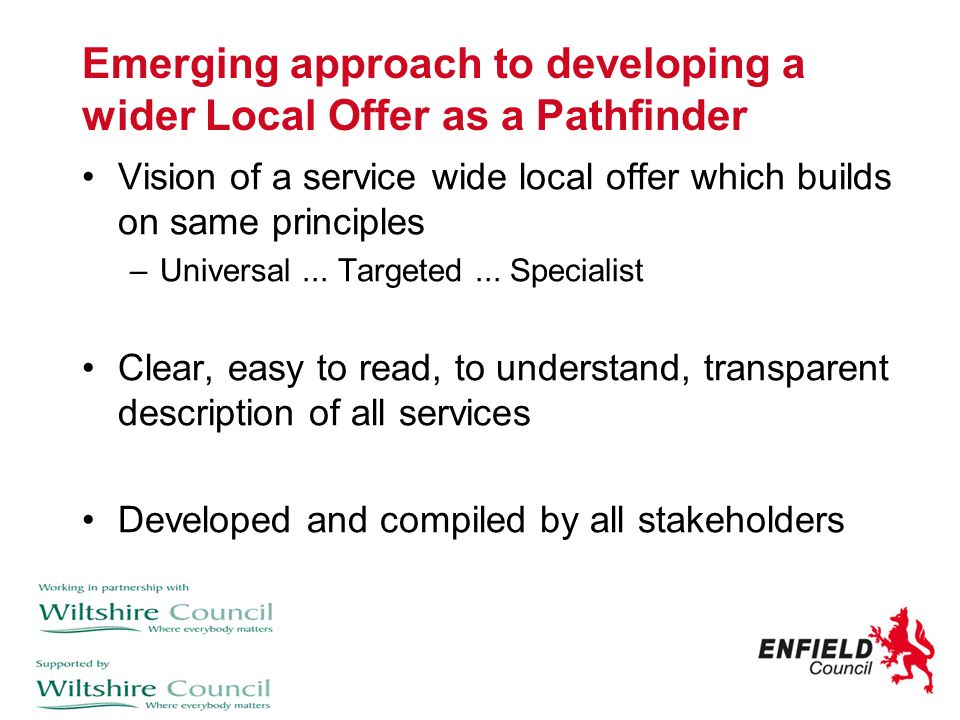 Emerging approach to developing a wider Local Offer as a Pathfinder