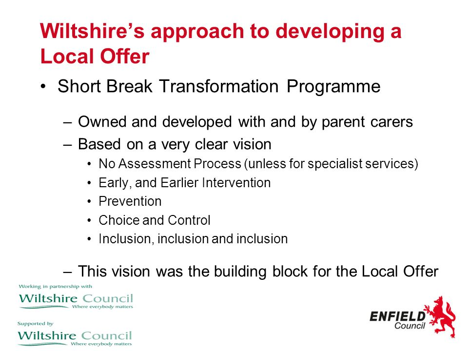 Wiltshire's approach to developing a Local Offer