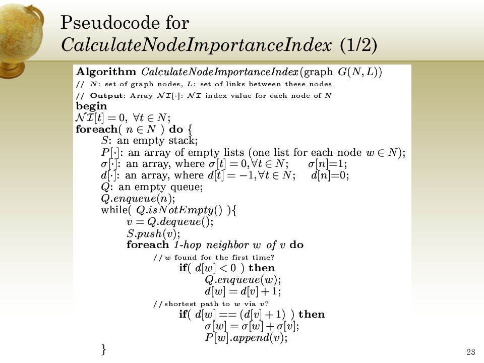 Pseudocode for CalculateNodeImportanceIndex (1/2)