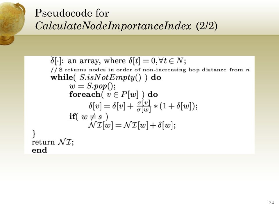 Pseudocode for CalculateNodeImportanceIndex (2/2)