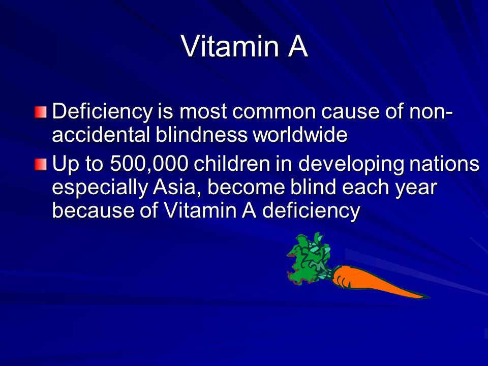 Vitamin A Deficiency is most common cause of non-accidental blindness worldwide.
