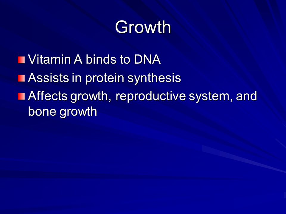 Growth Vitamin A binds to DNA Assists in protein synthesis