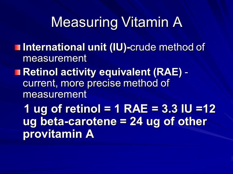 Measuring Vitamin A International unit (IU)-crude method of measurement.