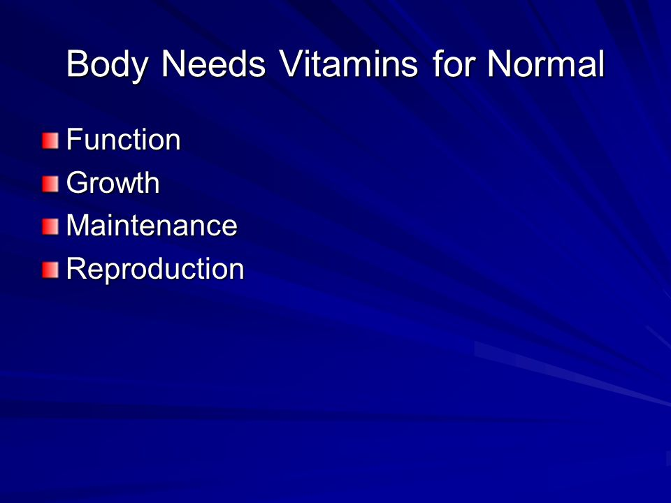 Body Needs Vitamins for Normal