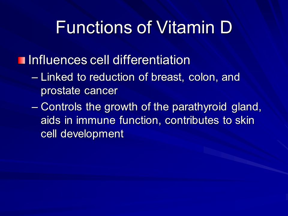 Functions of Vitamin D Influences cell differentiation