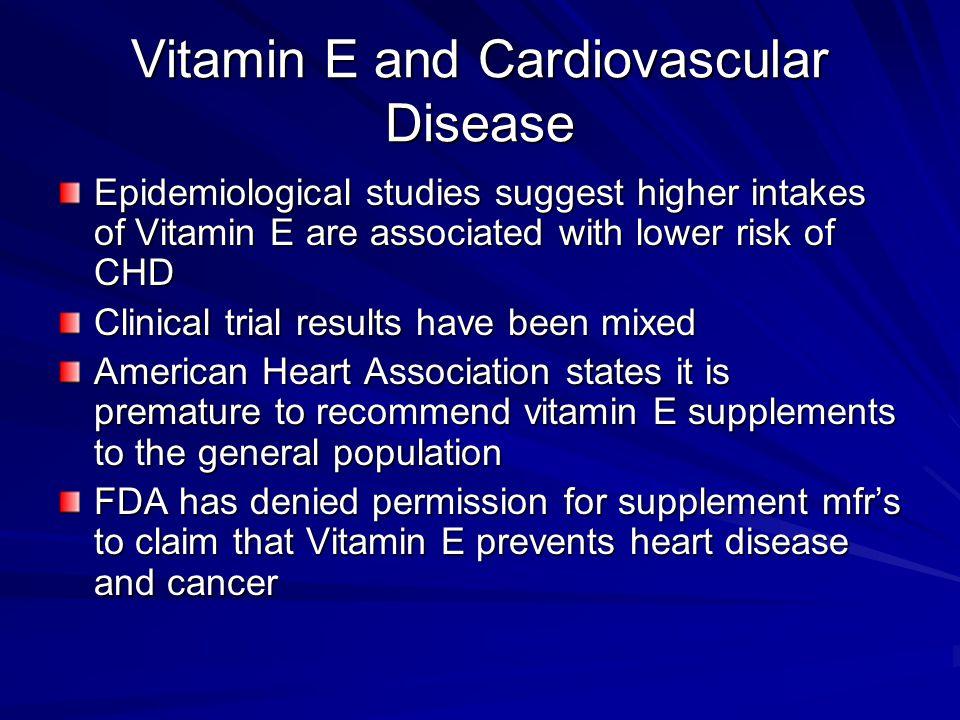 Vitamin E and Cardiovascular Disease