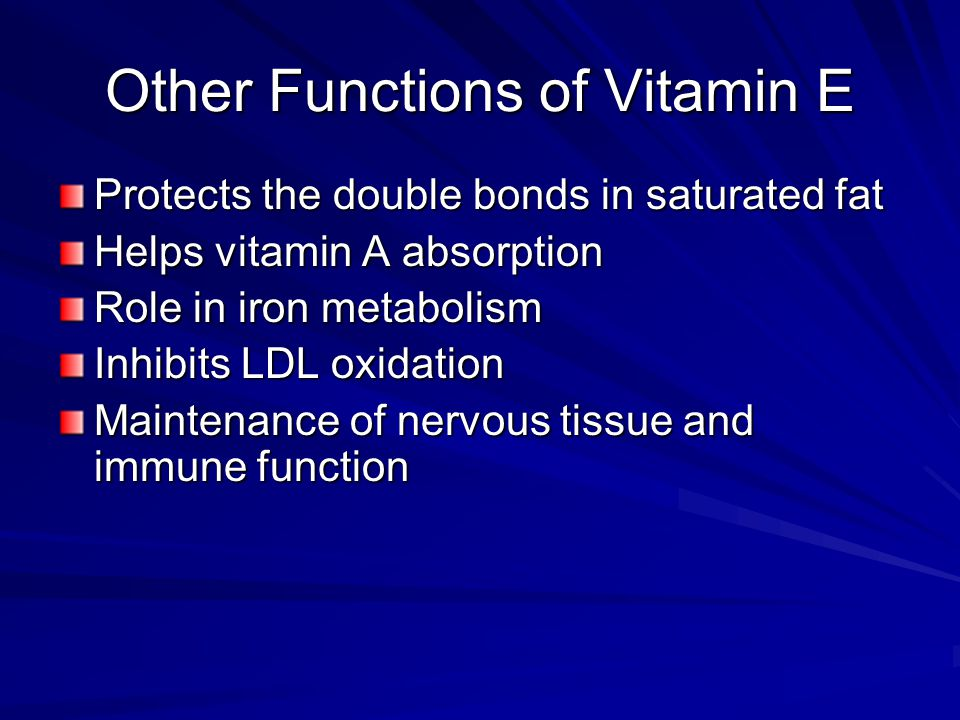 Other Functions of Vitamin E