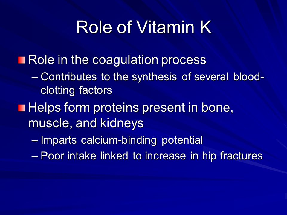 Role of Vitamin K Role in the coagulation process