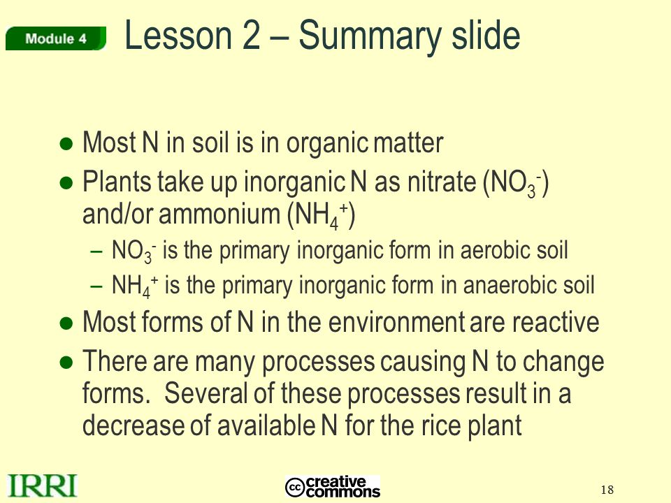 Lesson 2 – Summary slide Most N in soil is in organic matter