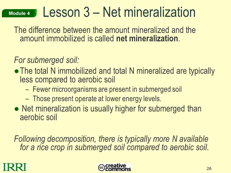 Lesson 3 – Net mineralization