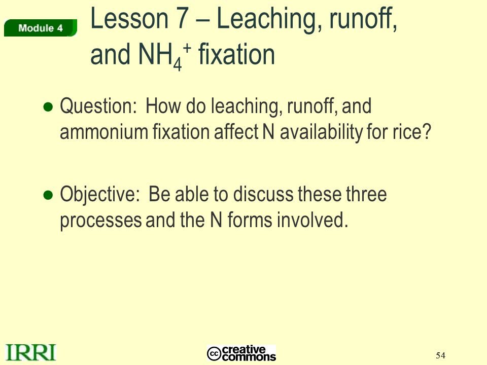 Lesson 7 – Leaching, runoff, and NH4+ fixation