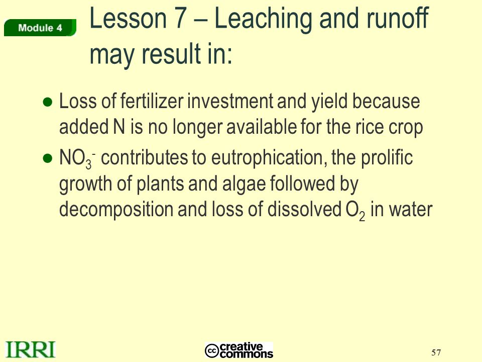 Lesson 7 – Leaching and runoff may result in: