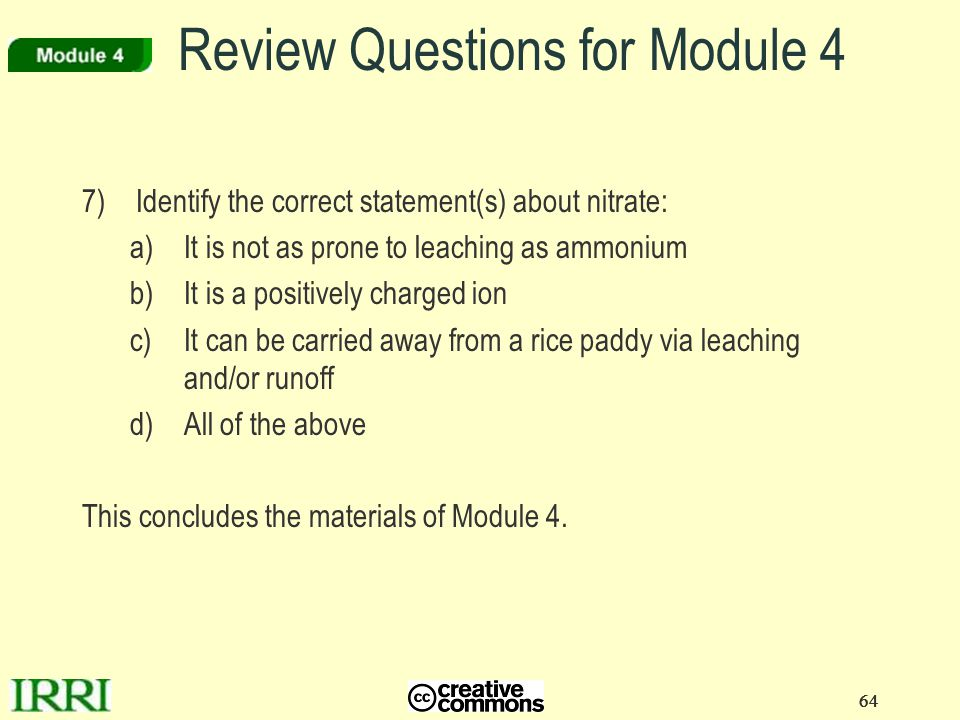 Review Questions for Module 4