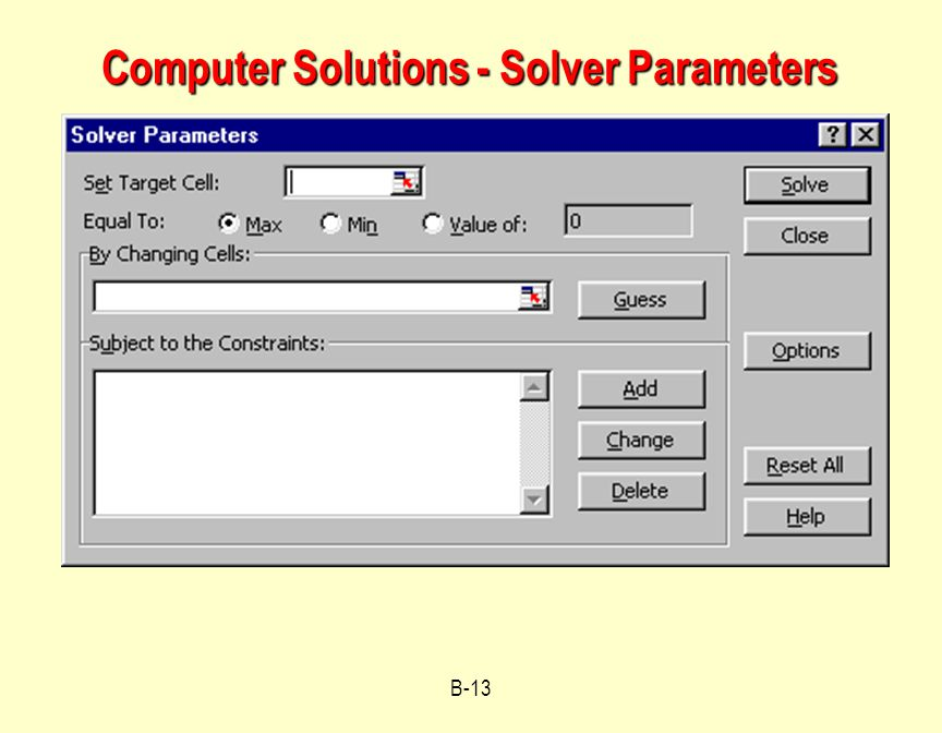 Computer Solutions - Solver Parameters