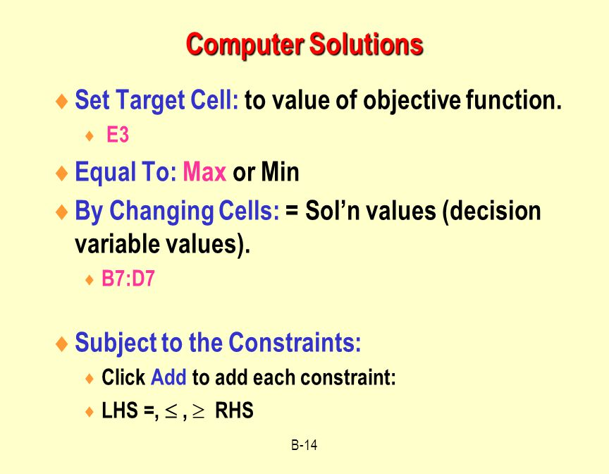 Computer Solutions Set Target Cell: to value of objective function.