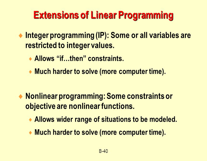 Extensions of Linear Programming