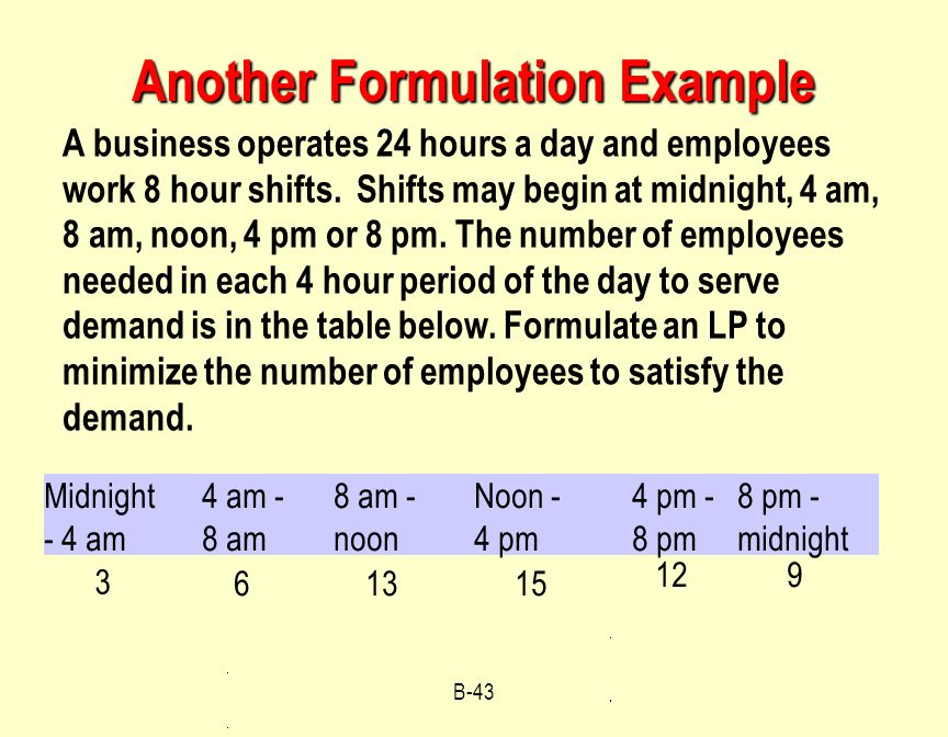 Another Formulation Example