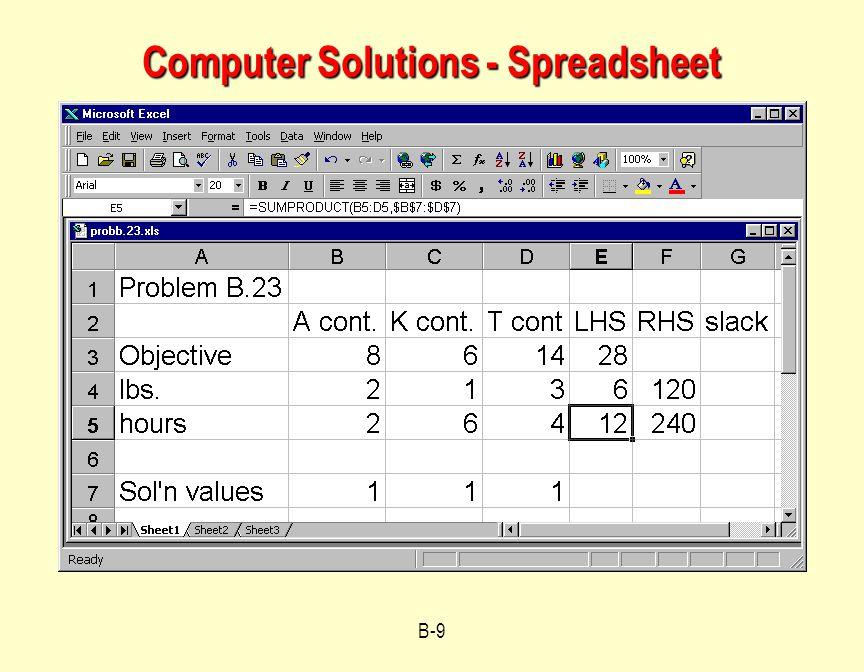 Computer Solutions - Spreadsheet