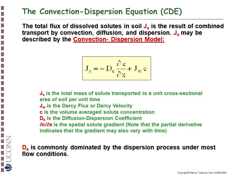 The Convection-Dispersion Equation (CDE)