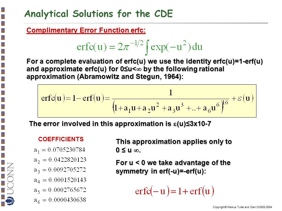Analytical Solutions for the CDE