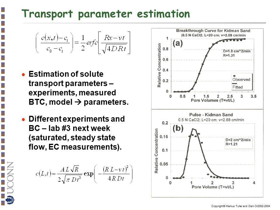 Transport parameter estimation
