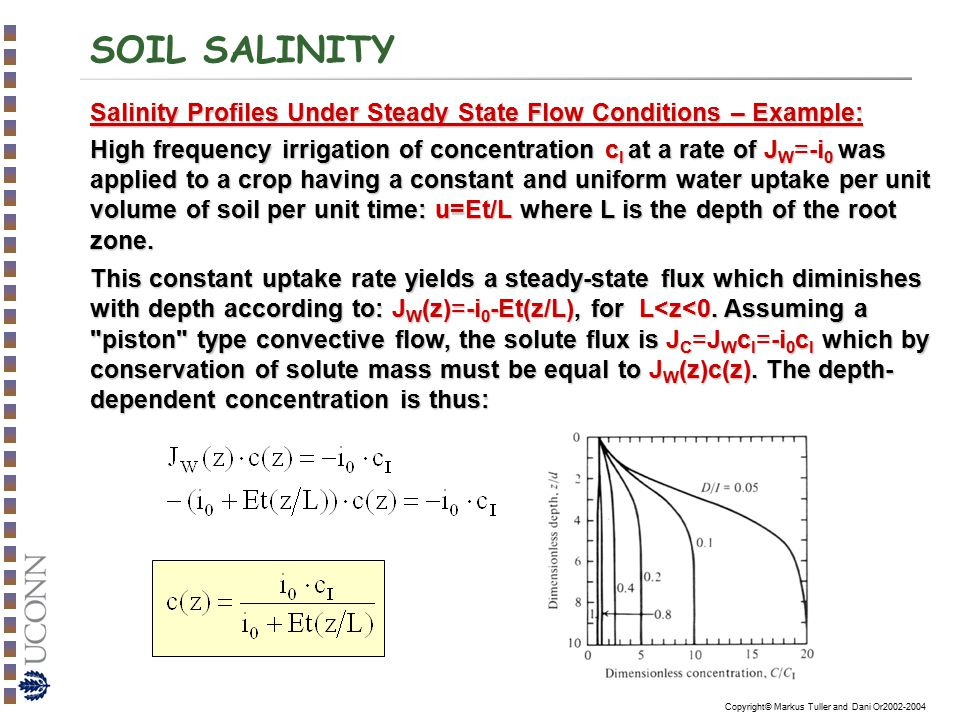SOIL SALINITY Salinity Profiles Under Steady State Flow Conditions – Example: